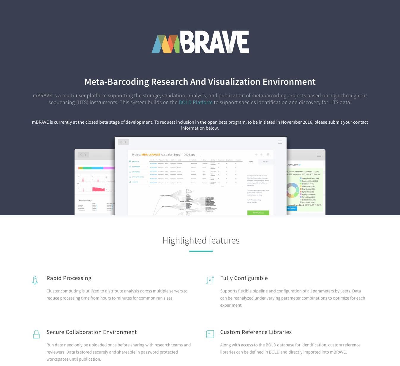 Screenshot of mBRAVE website