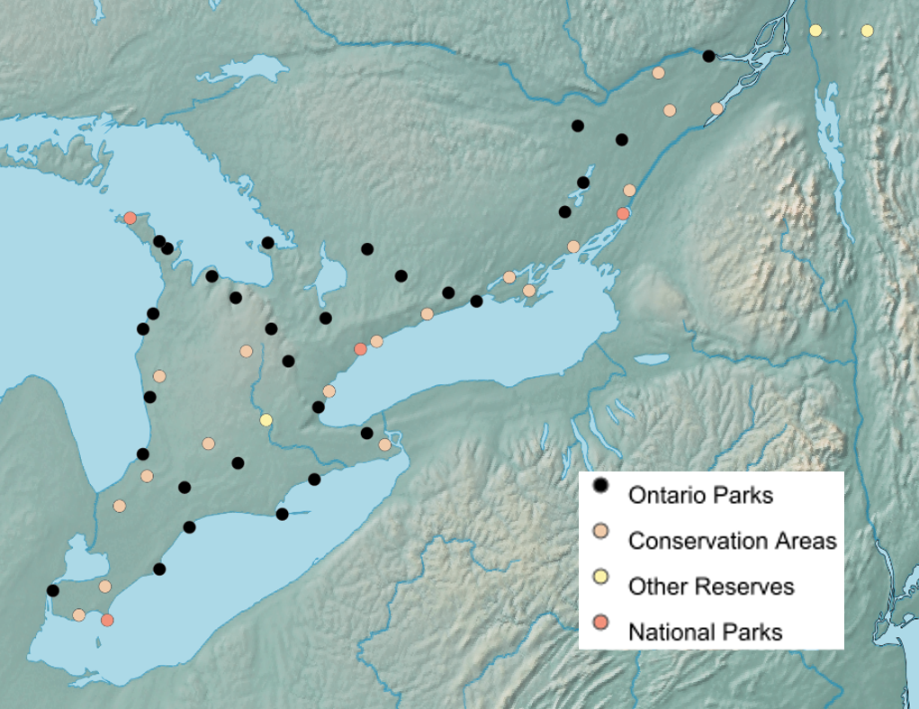 A map of sampling site locations for the Terrestrial Arthropod Monitoring Program – Mixedwood Plains 2018